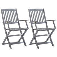 vidaXL Cadeiras de jardim dobráveis 2 pcs madeira acácia maciça