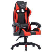 vidaXL Cadeira estilo corrida couro artificial vermelho