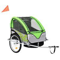 vidaXL Atrelado bicicleta/carrinho infantil 2-em-1 verde e cinzento