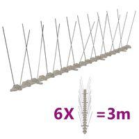 vidaXL Conjunto 6 picos para pássaros e pombos 2 filas 3 m plástico