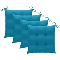 vidaXL Chair Cushions 4 pcs Blue 50x50x7 cm Fabric