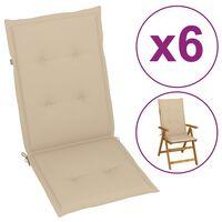 vidaXL Almofadões para cadeiras de jardim 6 pcs 120x50x4 cm bege