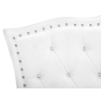 Cama individual em pele branca estilo chesterfield - 90x200 cm - Com a,