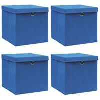 vidaXL Caixas de arrumação c/ tampas 4 pcs 32x32x32cm tecido azul