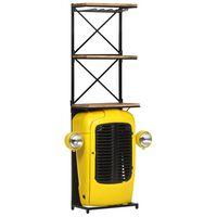 vidaXL Garrafeira trator 49x31x170 cm madeira mangueira maciça amarelo