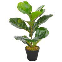 vidaXL Planta figo folhas de violino artificial com vaso 45 cm verde