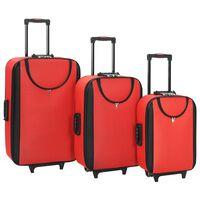 vidaXL Malas de viagem com rodas 3 pcs tecido oxford vermelho