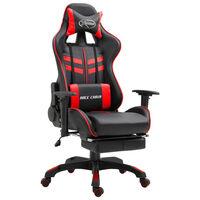 vidaXL Cadeira de gaming c/ apoio pés couro artificial vermelho