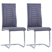 vidaXL Cadeiras de jantar cantilever 2 pcs camurça artificial cinzento
