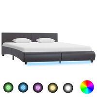vidaXL Estrutura de cama c/ LED 180x200 cm couro artificial cinzento