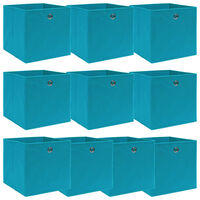 vidaXL Caixas de arrumação 10 pcs 32x32x32cm tecido azul-bebé