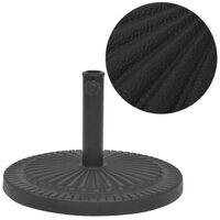 vidaXL Base para guarda-sol em resina redondo preto 14 kg