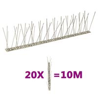 vidaXL Conjunto 20 picos pássaros e pombos 2 filas 10m aço inoxidável
