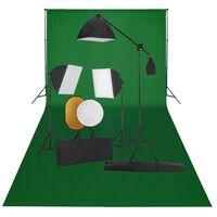 vidaXL Kit estúdio fotográfico com softbox iluminação/fundo/refletor