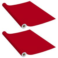 vidaXL Autocolante para móveis 2 pcs 500x90 cm PVC vermelho