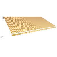 vidaXL Toldo retrátil manual 600x300 cm amarelo e branco