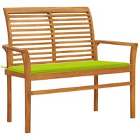 vidaXL Banco de jardim c/ almofadão verde brilhante 112 cm teca maciça