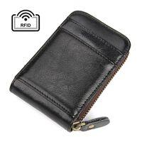 Porta-cartão RFID - couro genuíno - preto