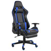 vidaXL Cadeira de gaming giratória com apoio de pés PVC azul