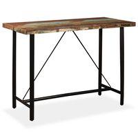 vidaXL Mesa de bar em madeira reciclada maciça 150x70x107 cm