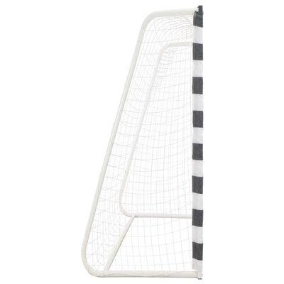 vidaXL Baliza de futebol 300x200x90 cm metal preto e branco