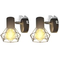 2 apliques de arame estilo industrial com LED, preto