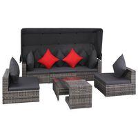 vidaXL 7 pcs conjunto lounge de jardim c/ almofadões vime PE cinzento