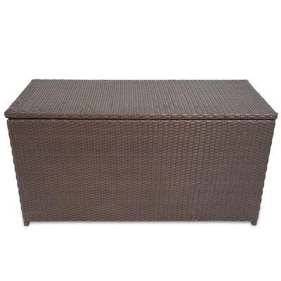 vidaXL Caixa de arrumação para jardim 120x50x60 cm vime PE castanho