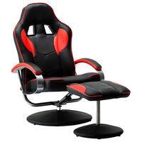 vidaXL Cadeira estilo corrida + apoio de pés couro artificial vermelho