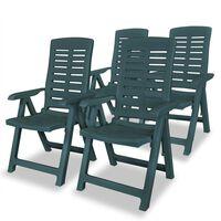 vidaXL Cadeiras de jardim reclináveis 4 pcs plástico verde