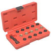 vidaXL 16 pcs kit de reparação roscas velas incandescência M14x1,25