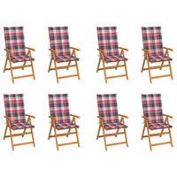 vidaXL Cadeiras de jardim reclináveis c/ almofadões 8 pcs teca maciça