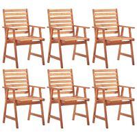 vidaXL Cadeiras jantar p/ jardim 6 pcs madeira de acácia maciça