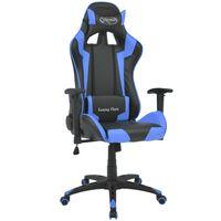 vidaXL Cadeira escritório reclinável estilo corrida pele artific. azul