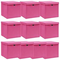 vidaXL Caixas de arrumação com tampas 10 pcs 32x32x32 cm tecido rosa