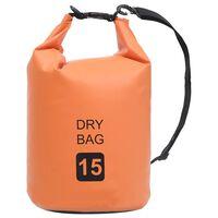 vidaXL Bolsa impermeável 15 L PVC laranja