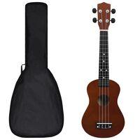 "vidaXL Conjunto ukulele soprano infantil c/ saco madeira escura 23"""