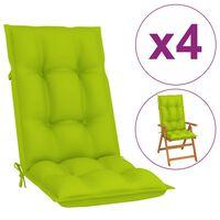 vidaXL Almofadões para cadeiras de jardim 4 pcs verde-claro 120x50x7cm