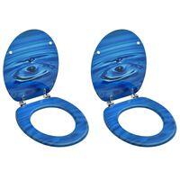 vidaXL Assentos sanita com tampas 2 pcs MDF design gotas água azul