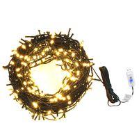 Cordão de luzes 400 LED 40 m 8 efeitos iluminação IP44 branco quente