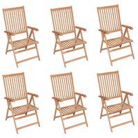 vidaXL Cadeiras de jardim reclináveis 6 pcs madeira de teca maciça