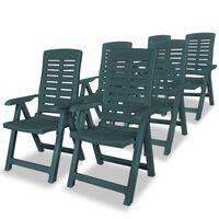 vidaXL Cadeiras de jardim reclináveis 6 pcs plástico verde