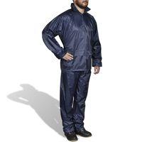 Fato de chuva com capuz para homem 2 peças XXL azul-marinho