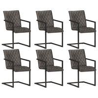vidaXL Cadeiras de jantar cantilever 6 pcs couro genuíno cinzento