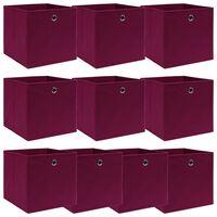 vidaXL Caixas de arrumação 10 pcs 32x32x32 cm tecido vermelho escuro