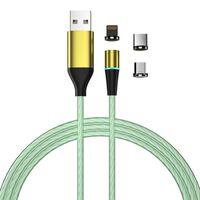 Cabo de carregamento com LED e plugue de poeira - MicroUSB / USB-C / L