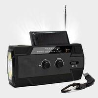 Rádio de sobrevivência multifuncional com painel solar e manivela