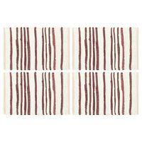 vidaXL Individual de mesa 4 pcs algodão 30x45 cm bordô e branco
