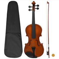 vidaXL Conj completo violino c/ arco e apoio queixo madeira escura 4/4