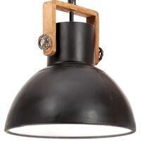 vidaXL Candeeiro suspenso industrial redondo 25 W 40 cm E27 preto